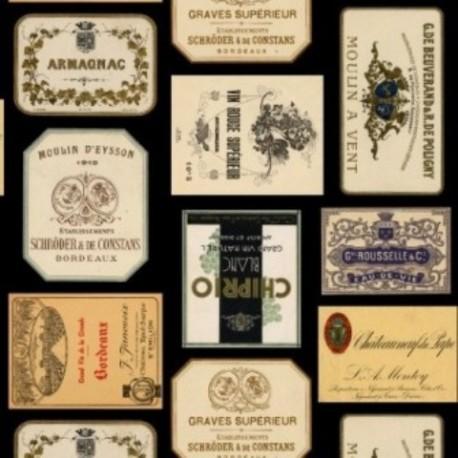 tissu patchwork avec des etiquettes de vin