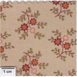 tissu patchwork marron glacé, petites fleurs 482