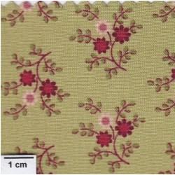 tissu patchwork vert, petites fleurs