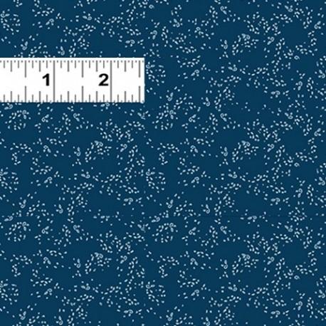 tissu patchwork bleu foncé avec des pois blancs