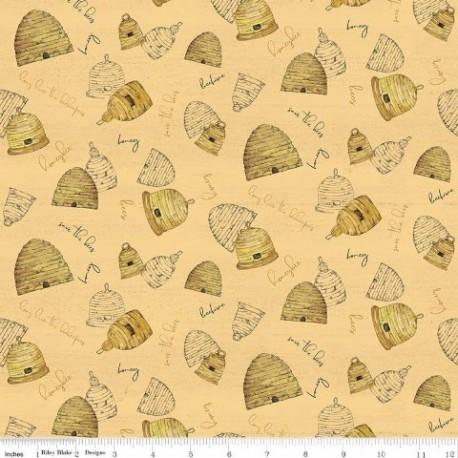 tissu patchwork jaune avec des ruches