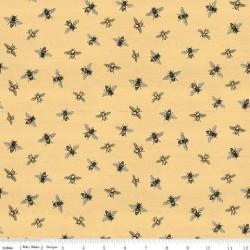 tissu patchwork jaune avec des abeilles
