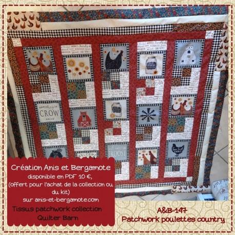 patchwork avec des poules