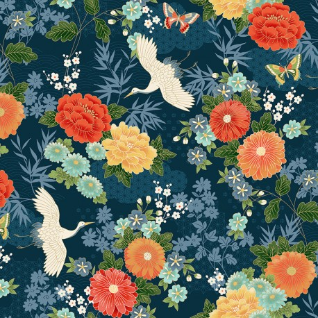 tissu patchwork japonais avec des grues et fleurs collection Michiko