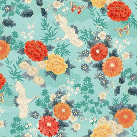 tissu japonais avec des grues et fleurs turquoise