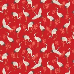 tissu japonais rouge avec des grues