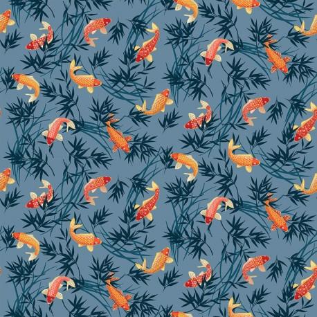 tissu patchwork japonais avec des carpes koi