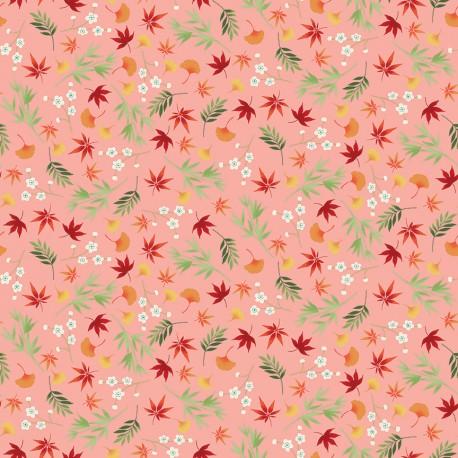 tissu patchwork japonais sur fond rose pêche avec des feuilles