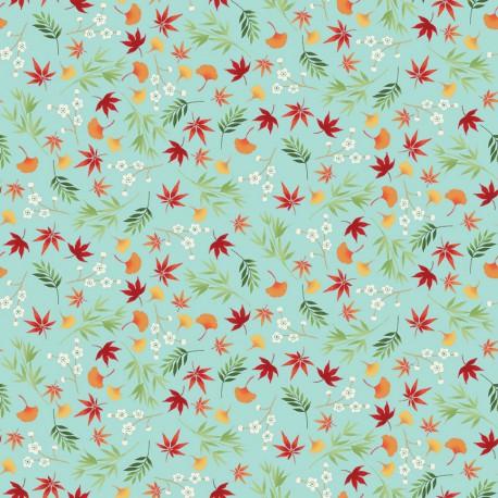 tissu patchwork japonais sur fond turquoise avec des feuilles