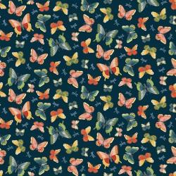 tissu patchwork esprit japonais sur fond foncé avec des papillons