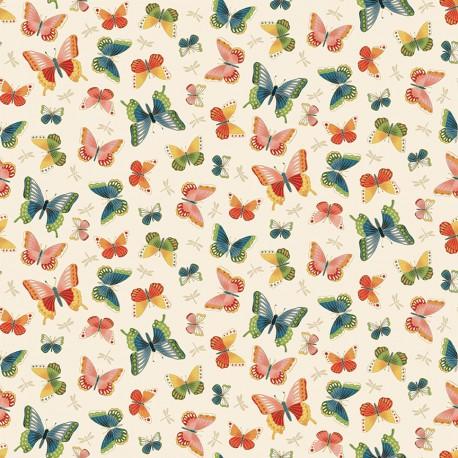 tissu patchwork esprit japonais sur fond clair avec des papillons