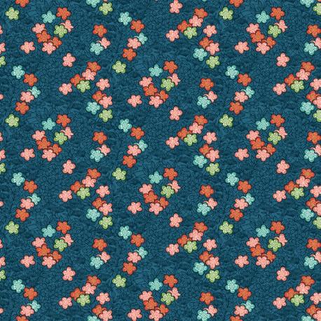 tissu patchwork esprit japonais sur fond bleu foncé avec des petites fleurs