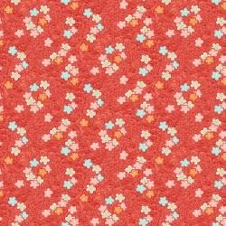 tissu patchwork japonais avec des petites fleurs sur fond rouge