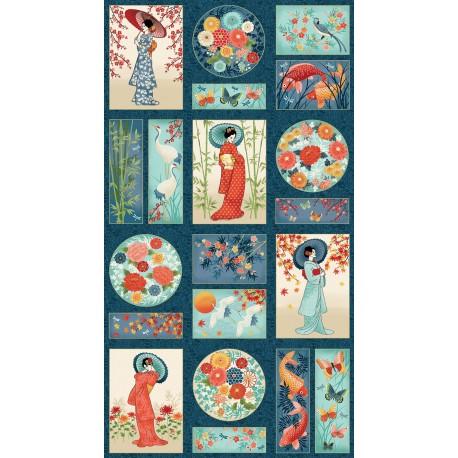 panneau tissu patchwork japonais