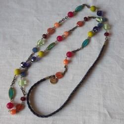 sautoir en perles multicolore anis et bergamote