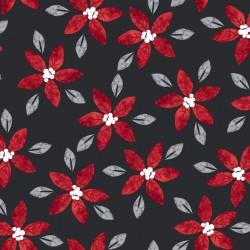 tissu patchwork de noël avec des poinsettias