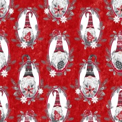 tissu patchwork avec des gnomes sur fond rouge