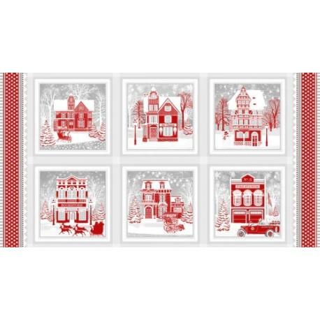 panneau de tissu patchwork d'hiver imprimé de maisons