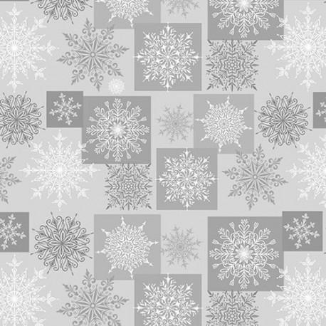tissu patchwork gris avec cristaux de givre