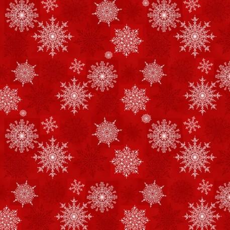 tissu patchwork rouge avec des cristaux de givre