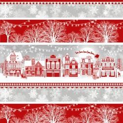 tissu patchwork avec des maisons