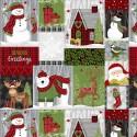 tissu patchwork en panneau d'étiquettes sur le thème de Noël