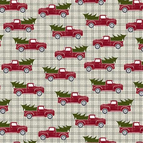 tissu patchwork benartex imprimé de voitures avec sapin