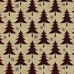 tissu patchwork avec des sapins