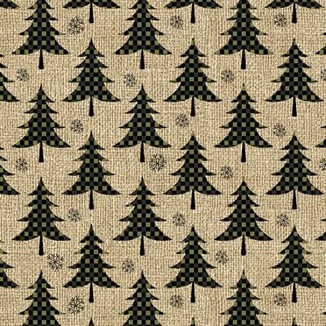 tissu patchwork avec des sapins vers à pois