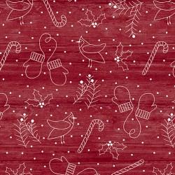 tissu rouge de Noël faux uni