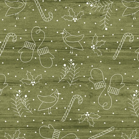 tissu patchwork de Noël faux uni vert