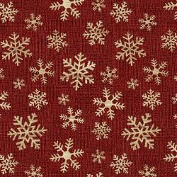 tissu patchwork de Noël cristaux de givre sur un fond rouge