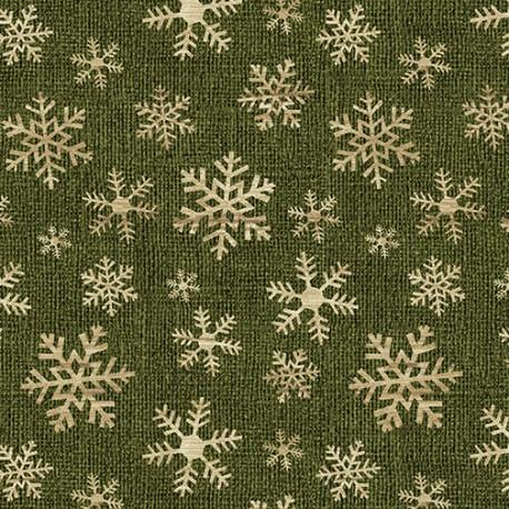 tissu patchwork de Noël cristaux de givre sur un fond vert