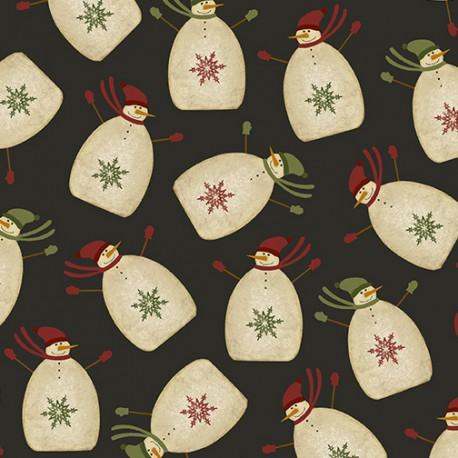 tissu patchwork imprimé de bonhommes de neige sur fond noir