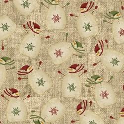 tissu patchwork imprimé de bonhommes de neige sur fond beige