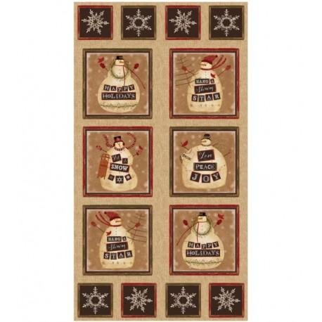 panneau de tissu patchwork avec des bonhommes de neige benartex