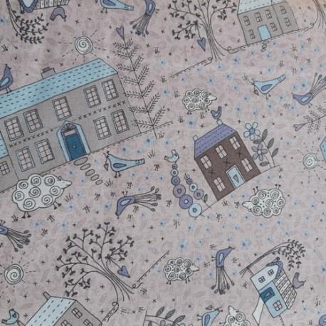 tissu patchwork lynette anderson avec maison, oiseaux
