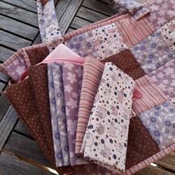 tissus patchwork coordonnés vieux rose