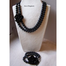 Collier à la rose Noir