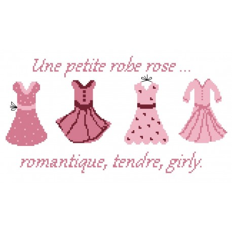 grille de point de croix et tuto pour réaliser un sac, une petite robe rose