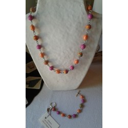 Collier orange et rose indien