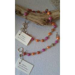 Collier orange et rose indien