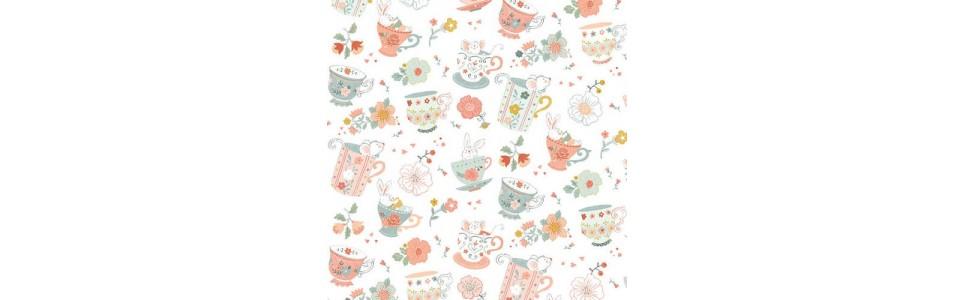 tissu patchwork avec des imprimés de thé, café, gateaux, cupcakes