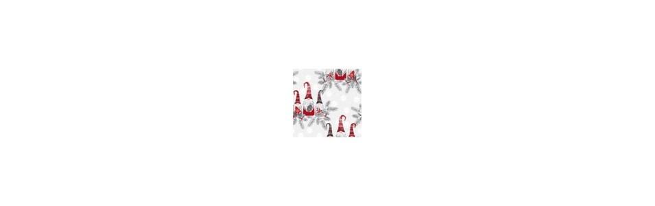 tissu patchwork de noël avec des gnomes