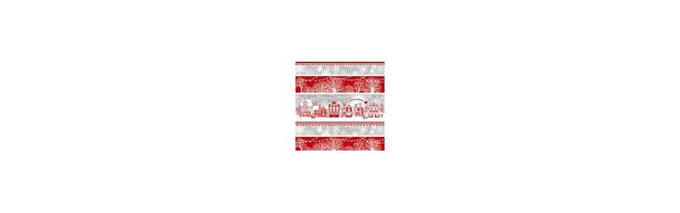 tissu patchwork sur le thème de l hiver et de Noël en rouge et blanc