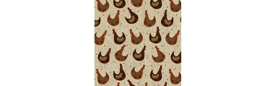 tissu patchwork imprimé petites ou grosses bêtes, poules, papillons