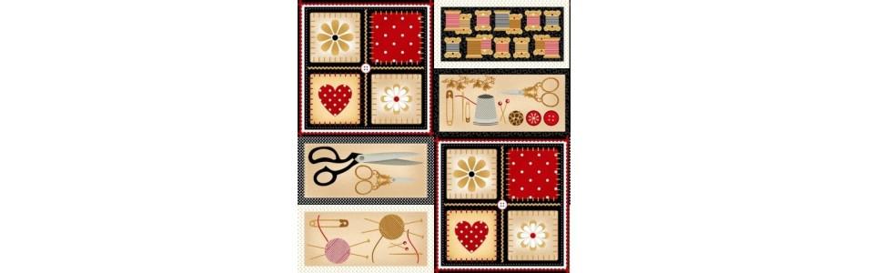 tissu pour le patchwork sur le thème de la couture au mètre