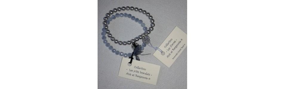 Les bracelets  Anis et Bergamote, sur élastique ou avec fermoir.