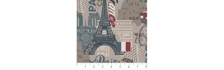 tissus patchwork sur le thème des voyages