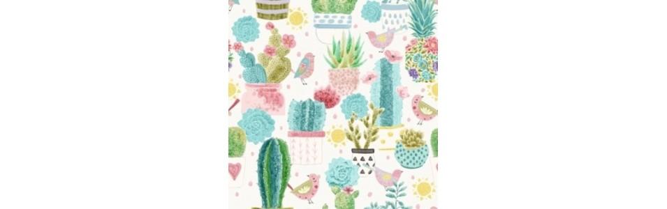 collection de tissu patchwork sur le theme des cactus